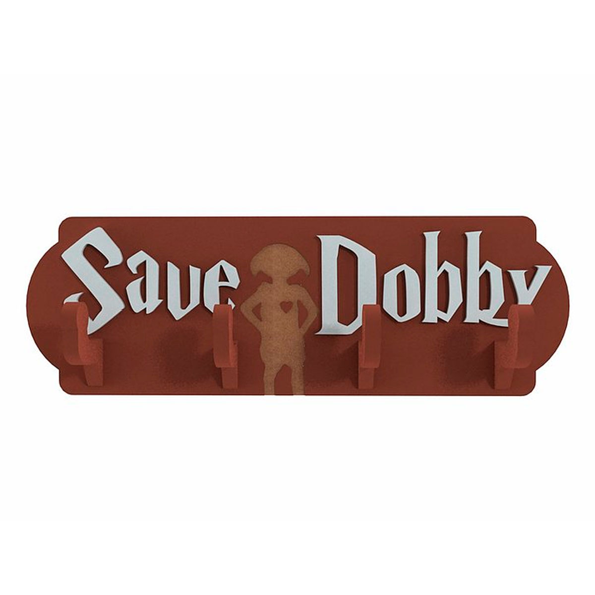 Cabideiro Porta Chaves de Madeira Harry Potter Save Dobby - Presente Super