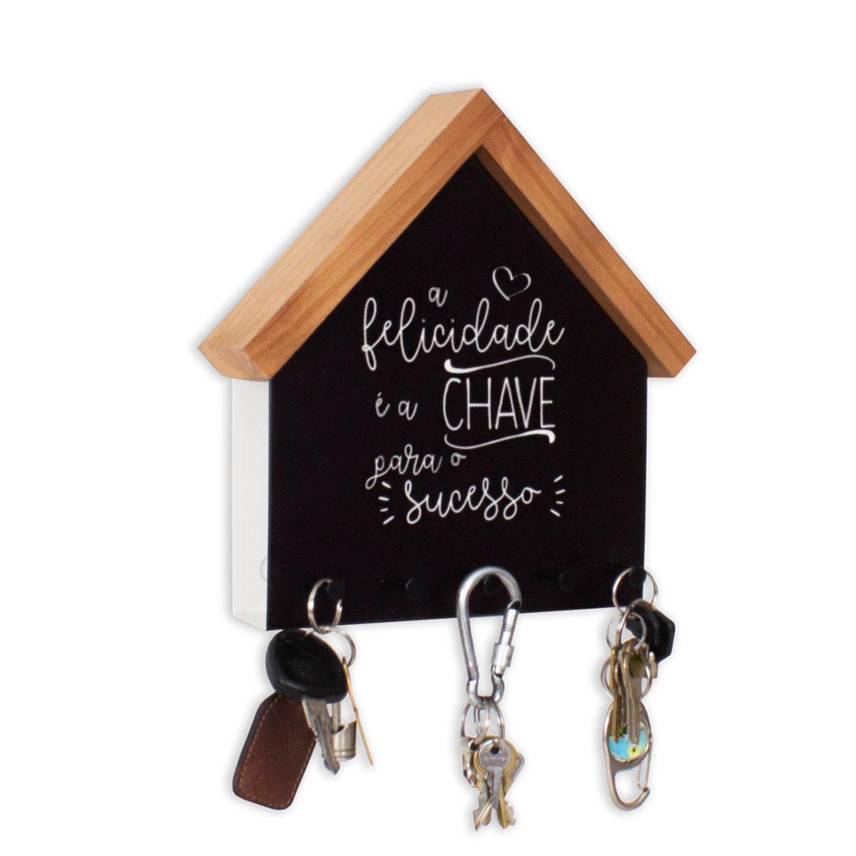 Porta Chaves e Cartas Casinha Felicidade - Presente Super