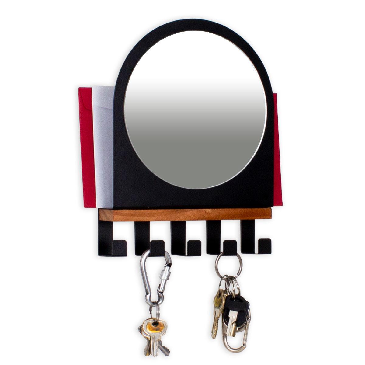Porta Chaves e Cartas com Gancho Espelho Preto - Presente Super