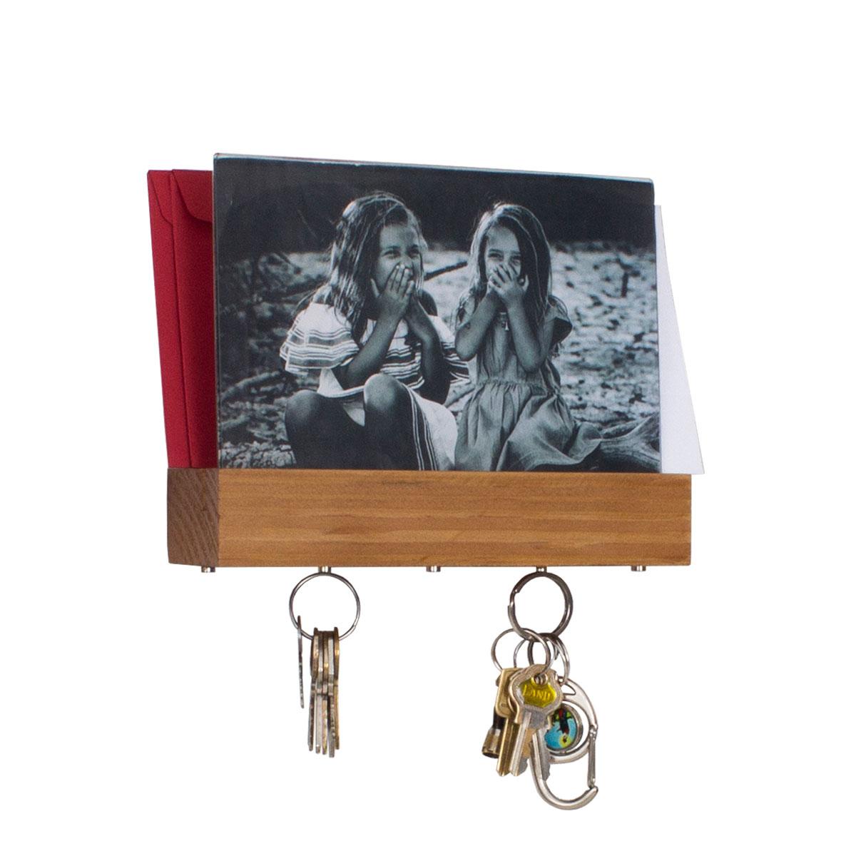 Porta Chaves e Cartas com Porta Retrato Madeira Pinus - Presente Super