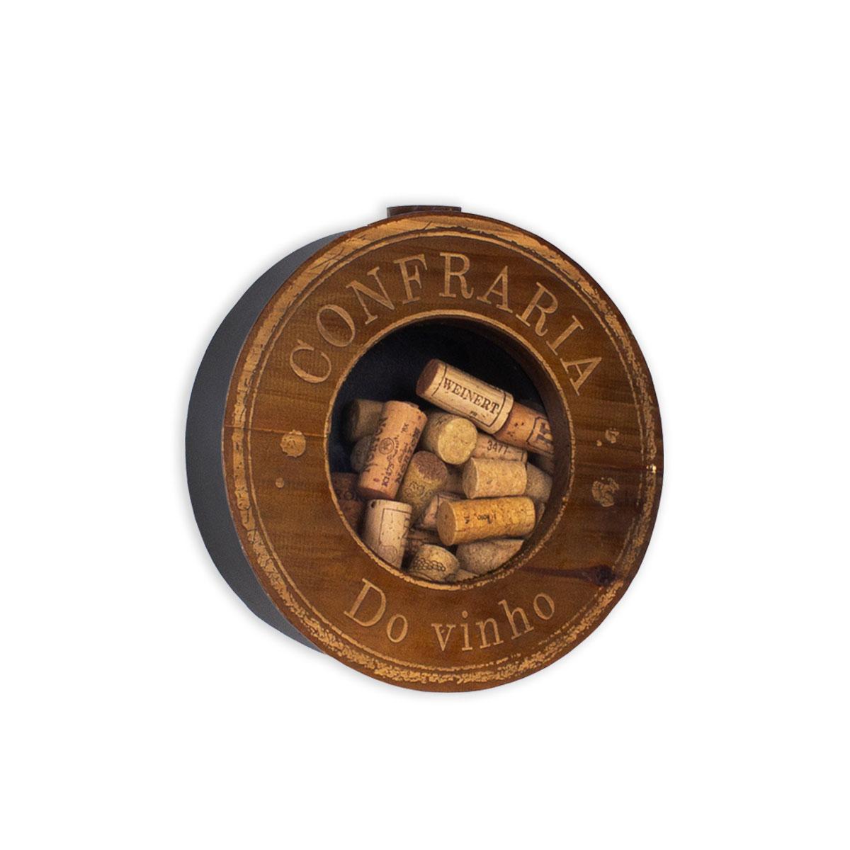 Porta Rolhas de Parede Redondo Confraria do Vinho - Presente Super