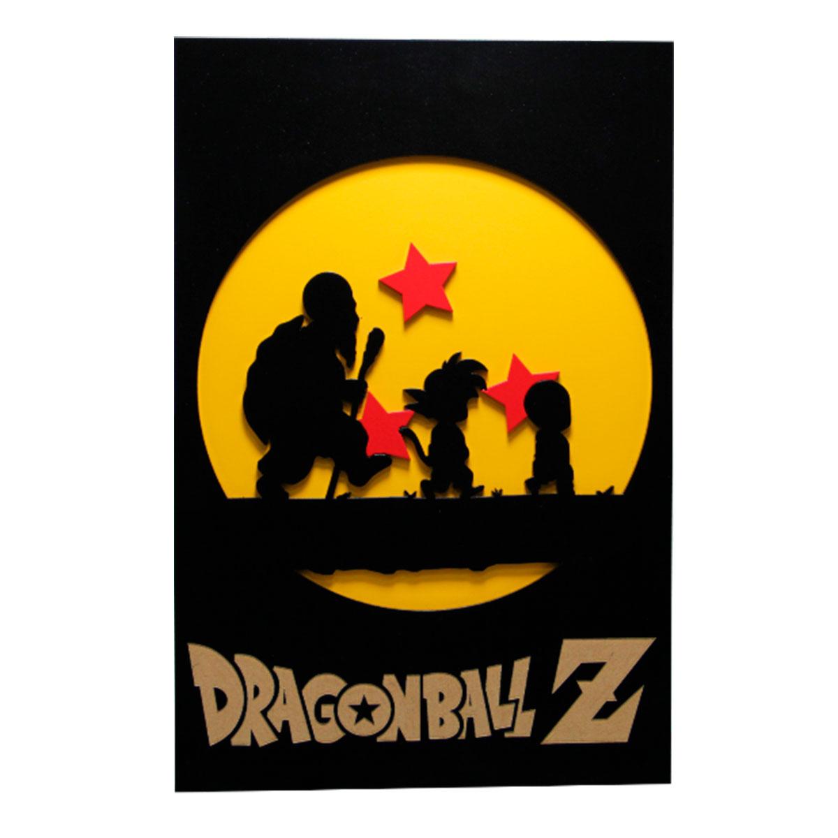 Quadro 3D  Dragon Ball Z Esferas do Dragão Shenlong 30x20cm - Presente Super