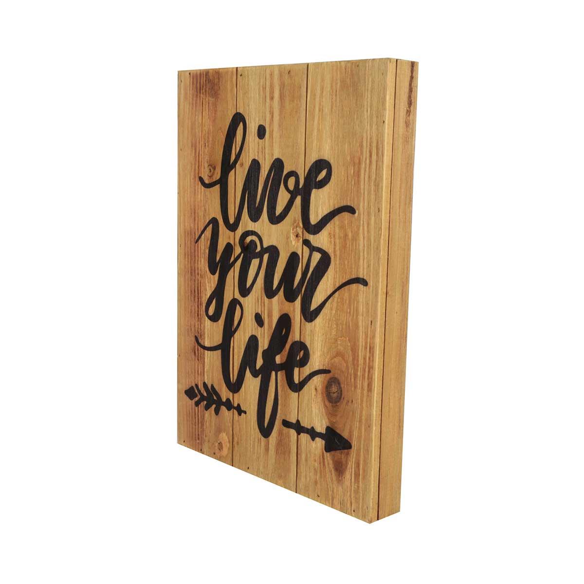 Quadro Placa de Madeira Decorativo Rustic Live Your Life