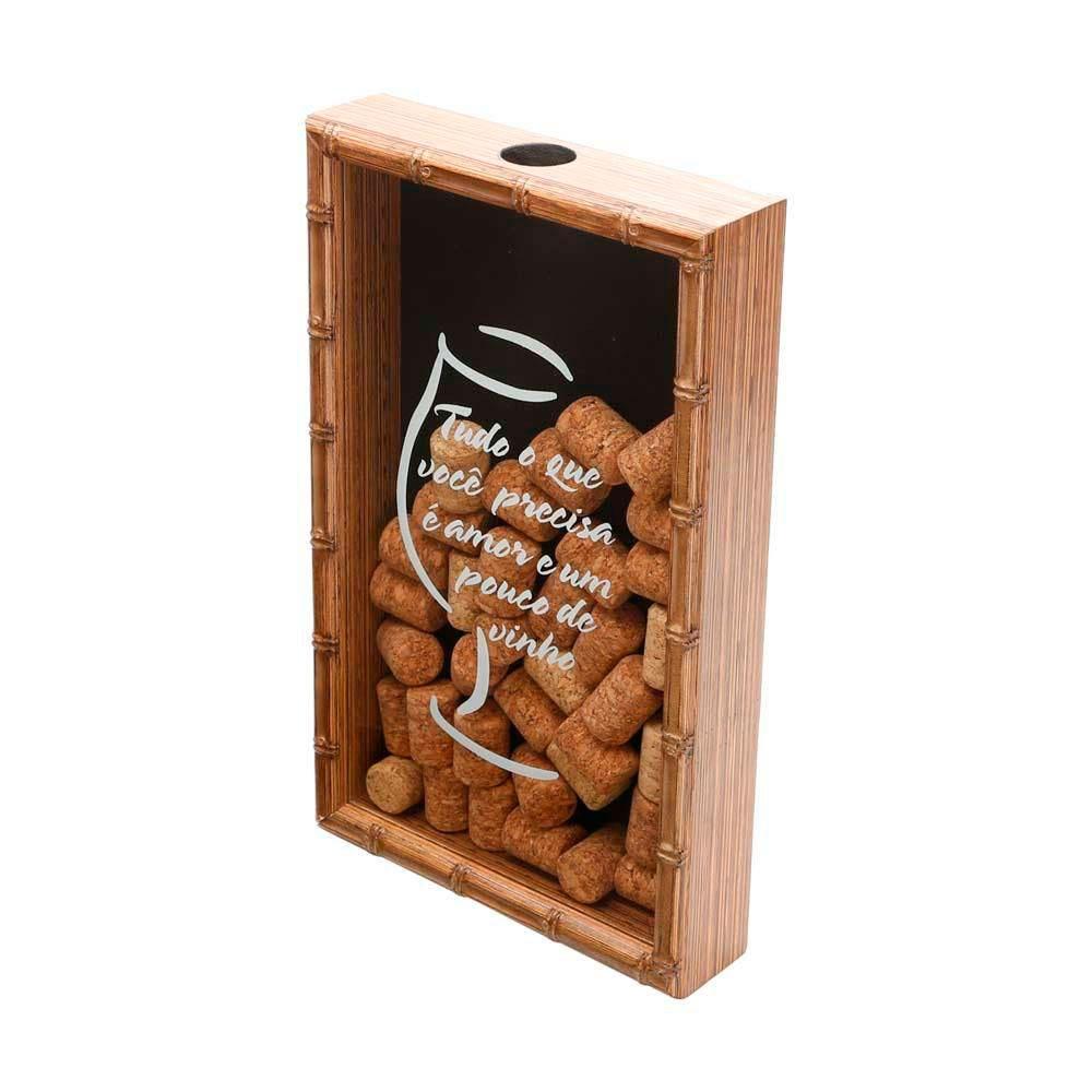 Quadro Porta Rolhas de Vinho em Bambu Amor e Vinho