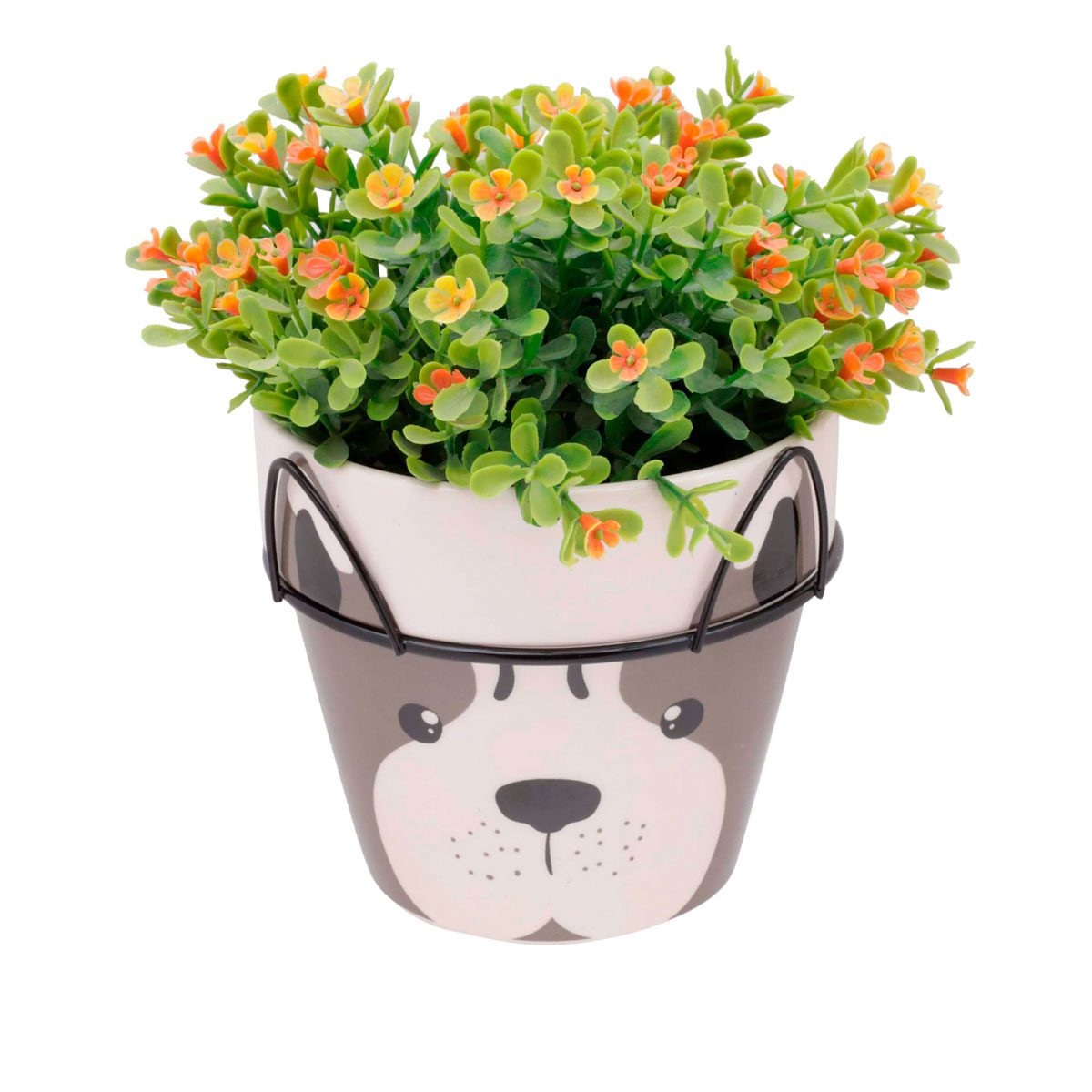 Vaso Cerâmica Decorativo Dog Face com Suporte - Presente Super