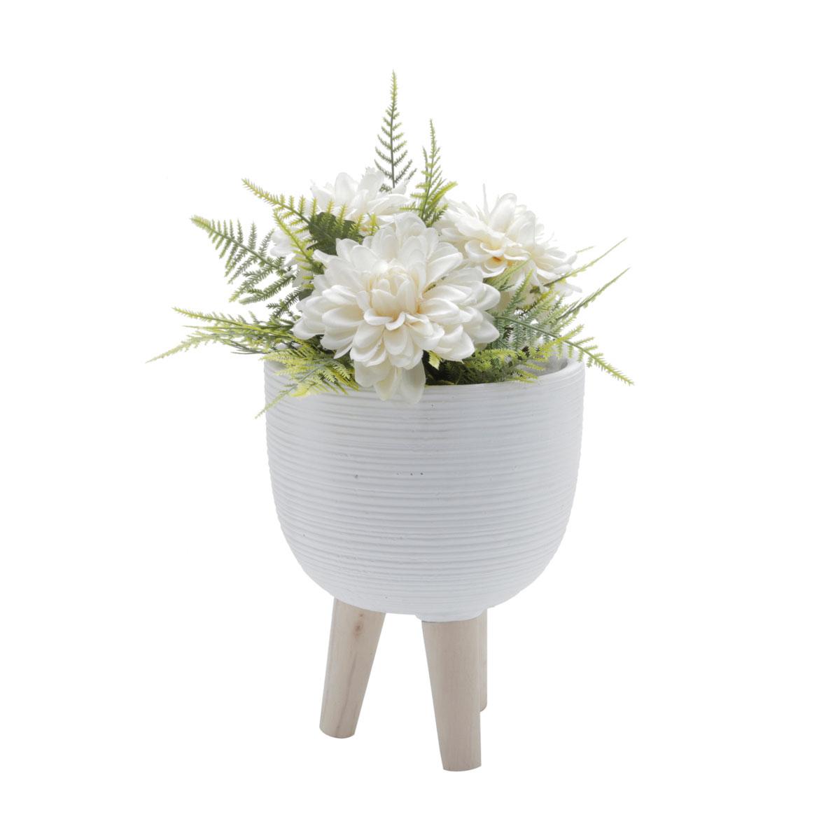 Vaso Concreto Decorativo Branco com Pé Madeira - Presente Super