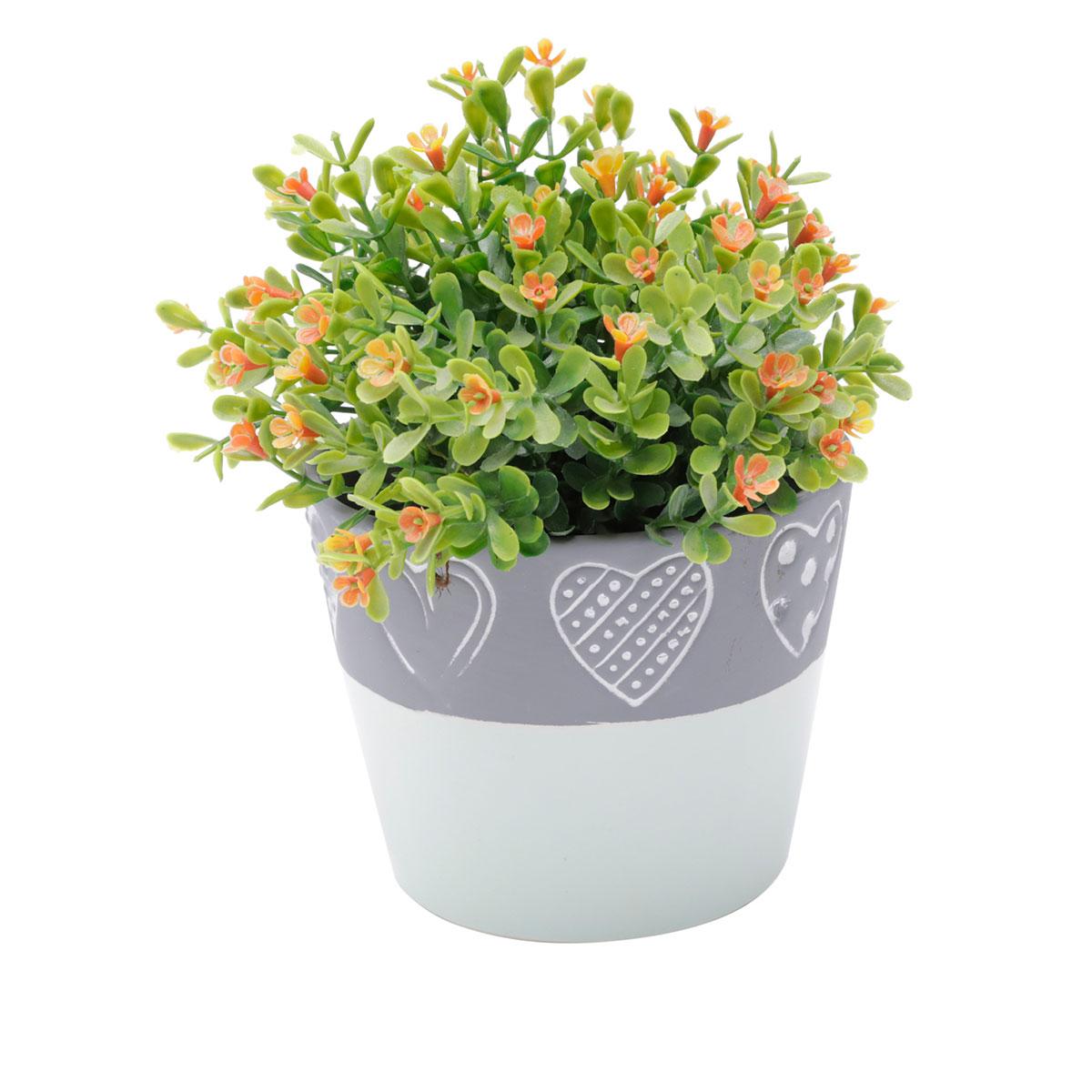 Vaso Concreto Decorativo Coração Verde e Cinza Médio - Presente Super