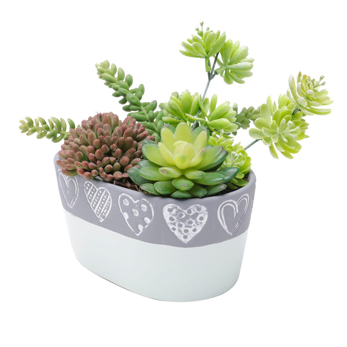 Vaso Concreto Oval Decorativo Coração Verde e Cinza - Presente Super
