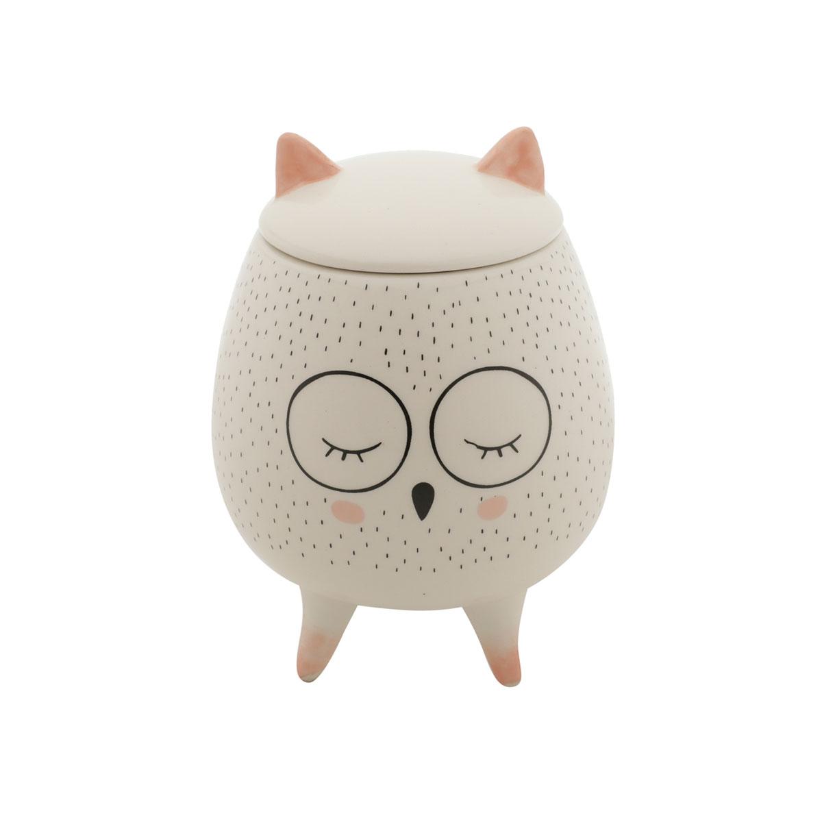 Vaso Potiche Decorativo Cerâmica Coruja Sleeping Owl - Presente Super
