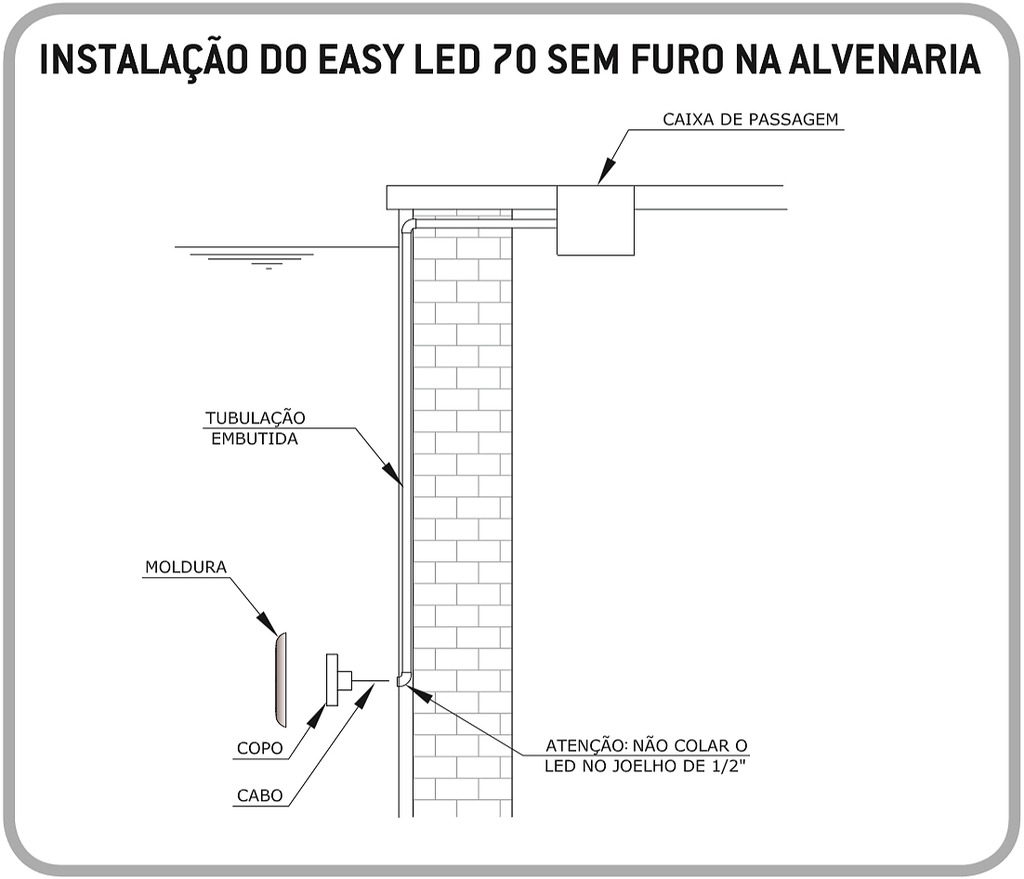 Fixação Alvenaria S/ Furo Easy LED 9W Light Tech