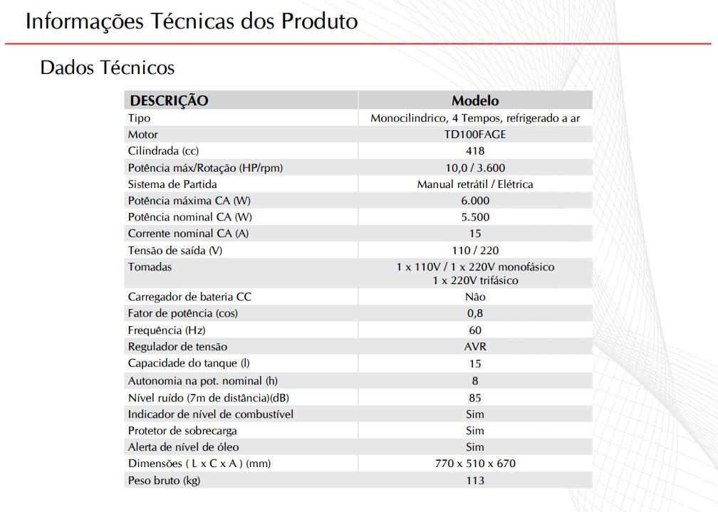 02eb29d5415 Gerador de energia a Diesel 220V Trifásico 6 KVA Partida Elétrica -  TD7000CX3ED - Toyama