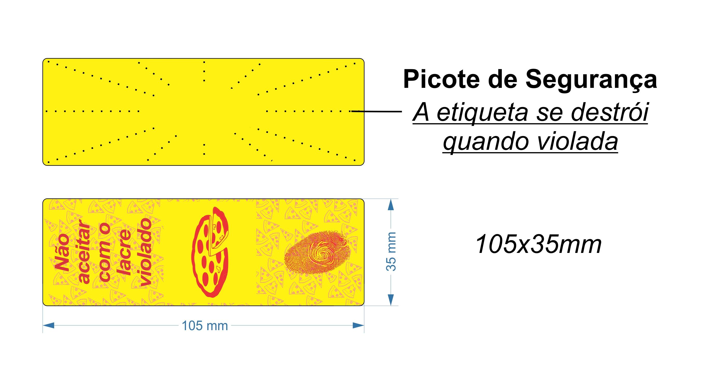 Lacre para Delivery de Pizza - Etiqueta Adesiva