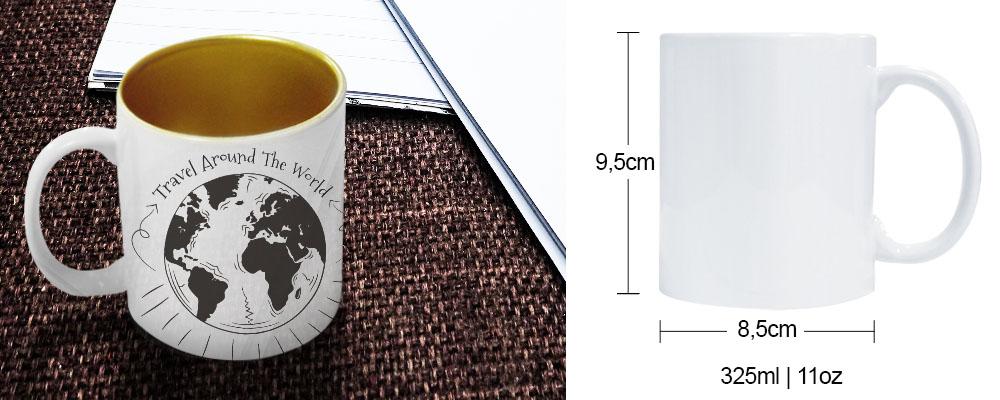 caneca de cerâmica com interior perolizada dourada para sublimação