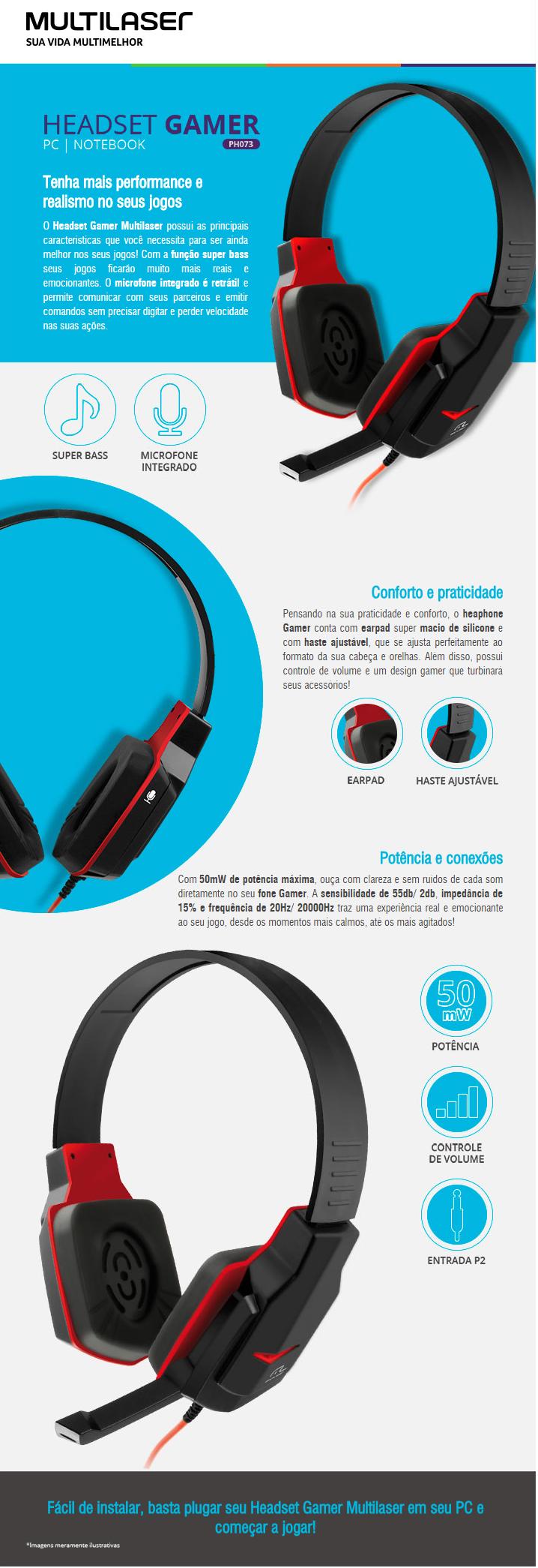 Fone Headset Gamer Multilaser PH073