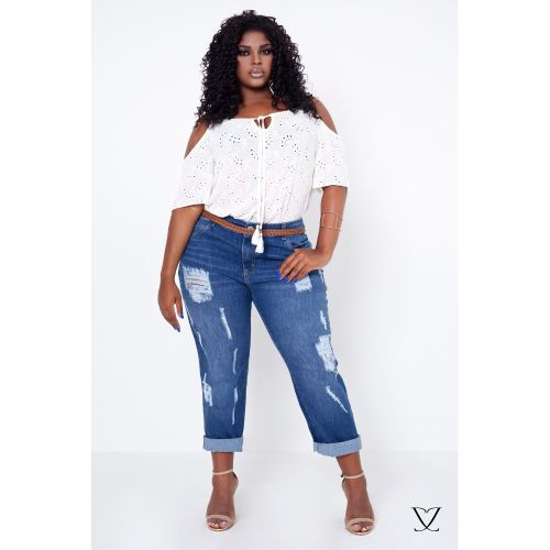 0645258c25 Calça Jeans Destroyed Plus Size com Puidos
