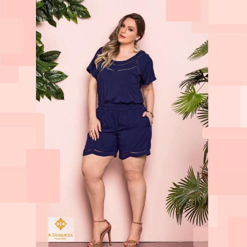 5e8e7eb13e35 Conjunto Blusa e Shorts Plus Size Duqueza