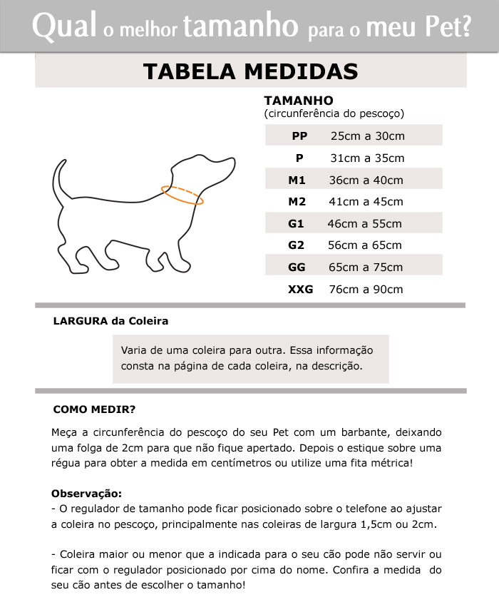 Tabela de Medidas Coleiras