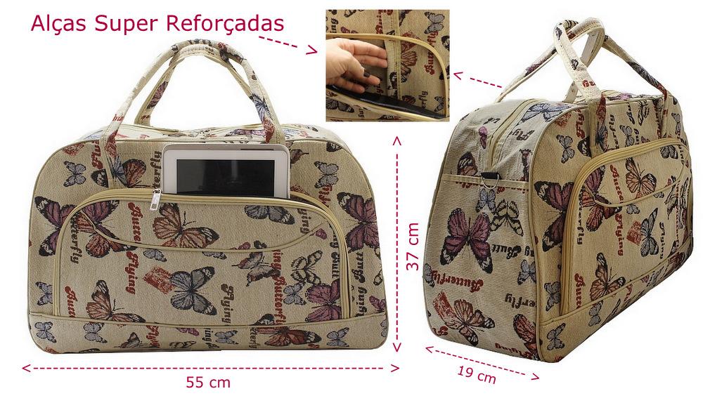 Bolsa De Mao Para Viagem Feminina : Ditudotem mala bolsa de m?o viagem grande borboleta
