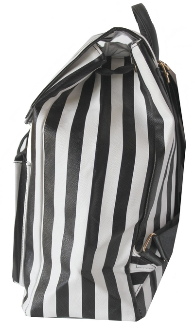 Bolsa Listrada Preta E Branca : Mini mochila preta e branca cl?ssica de listras pvc r