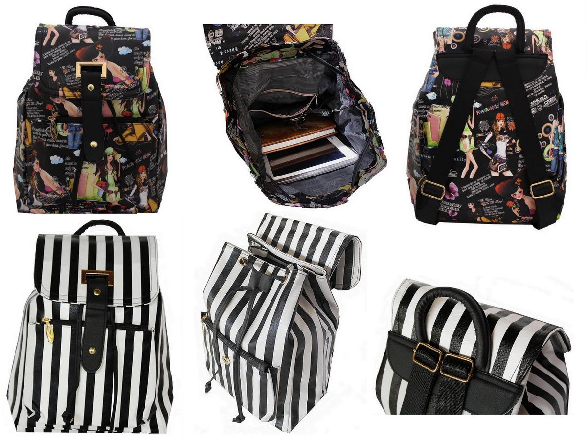 Bolsa Listrada Preta E Branca : Mini mochila preta e branca cl?ssica de listras