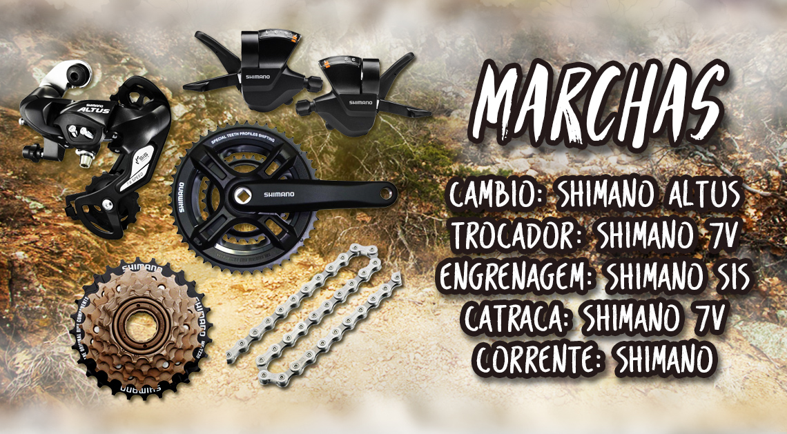 Marchas - Cambio: Shimano Altus; Trocador: Shimano 7V; Engrenagem: Shimano Sis; Catraca: Shimano 7V; Corrente: Shimano