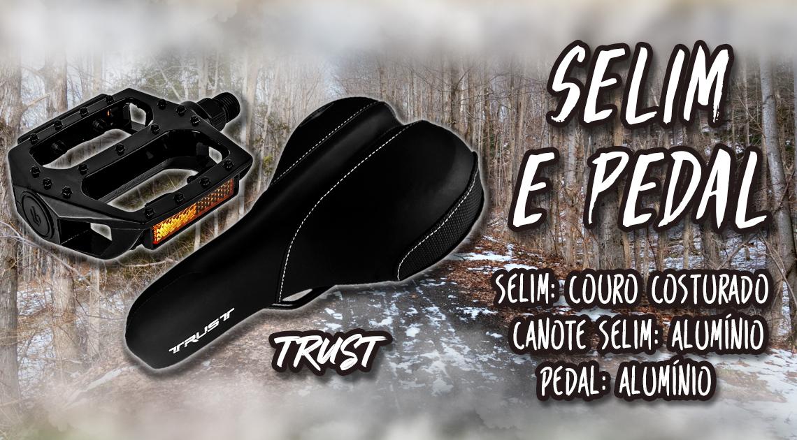 Selim e Pedal - guidao: aluminio - monaco mtb mesa: aluminio - monaco mtb manoplas: tipo gel