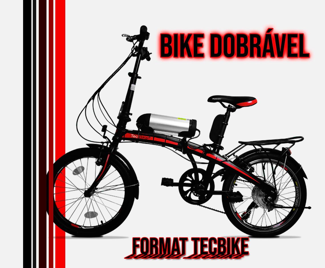 Bicicleta Elétrica Dobrável TecBike com Bateria de Litio 10 ah motor dianteiro 350 watts