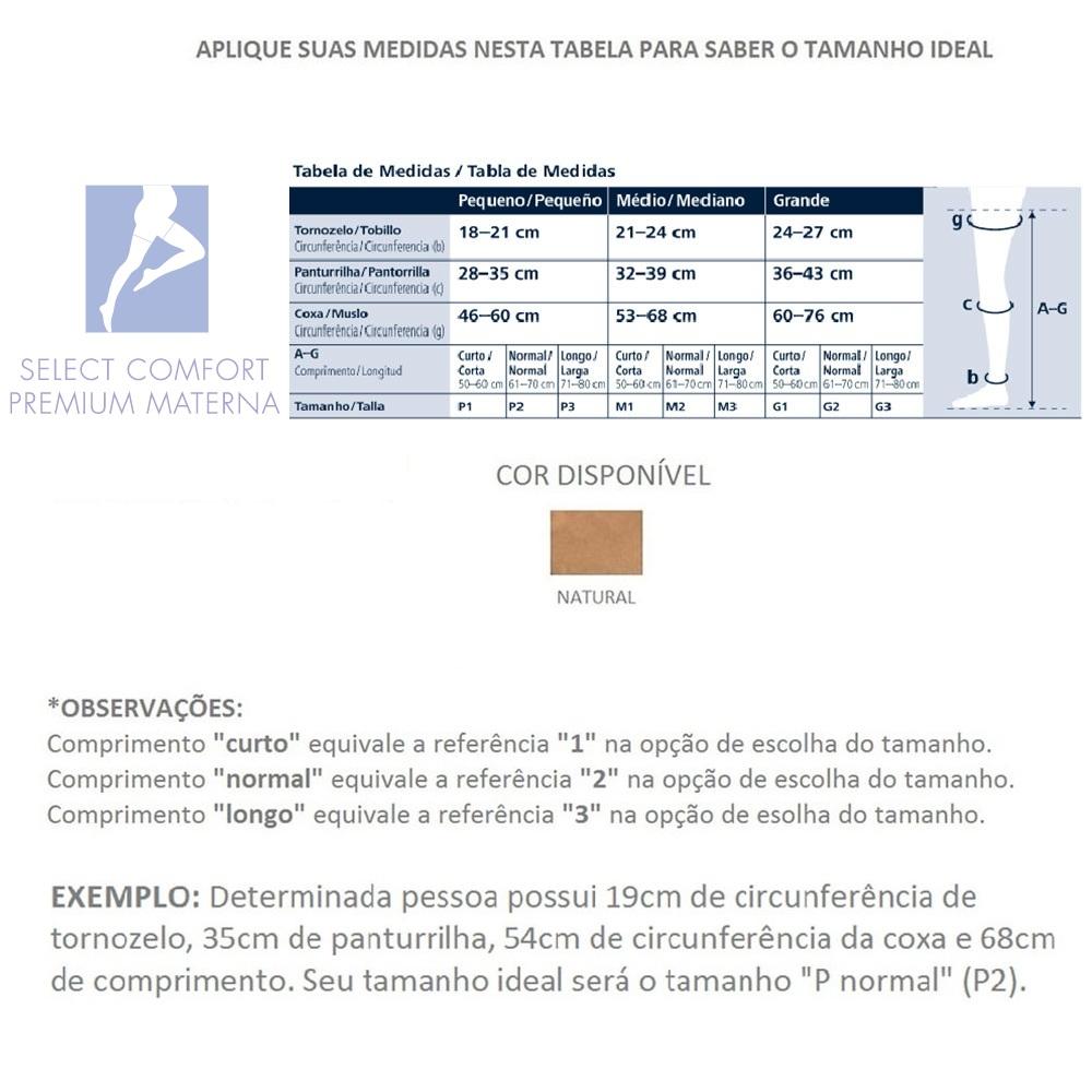 ff63f782e TABELA DE MEDIDAS. 1 Meia Calça Gestante Sigvaris Select Comfort Premium 20-30  mmHg