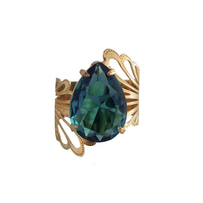 anel com pedra verde turmalina