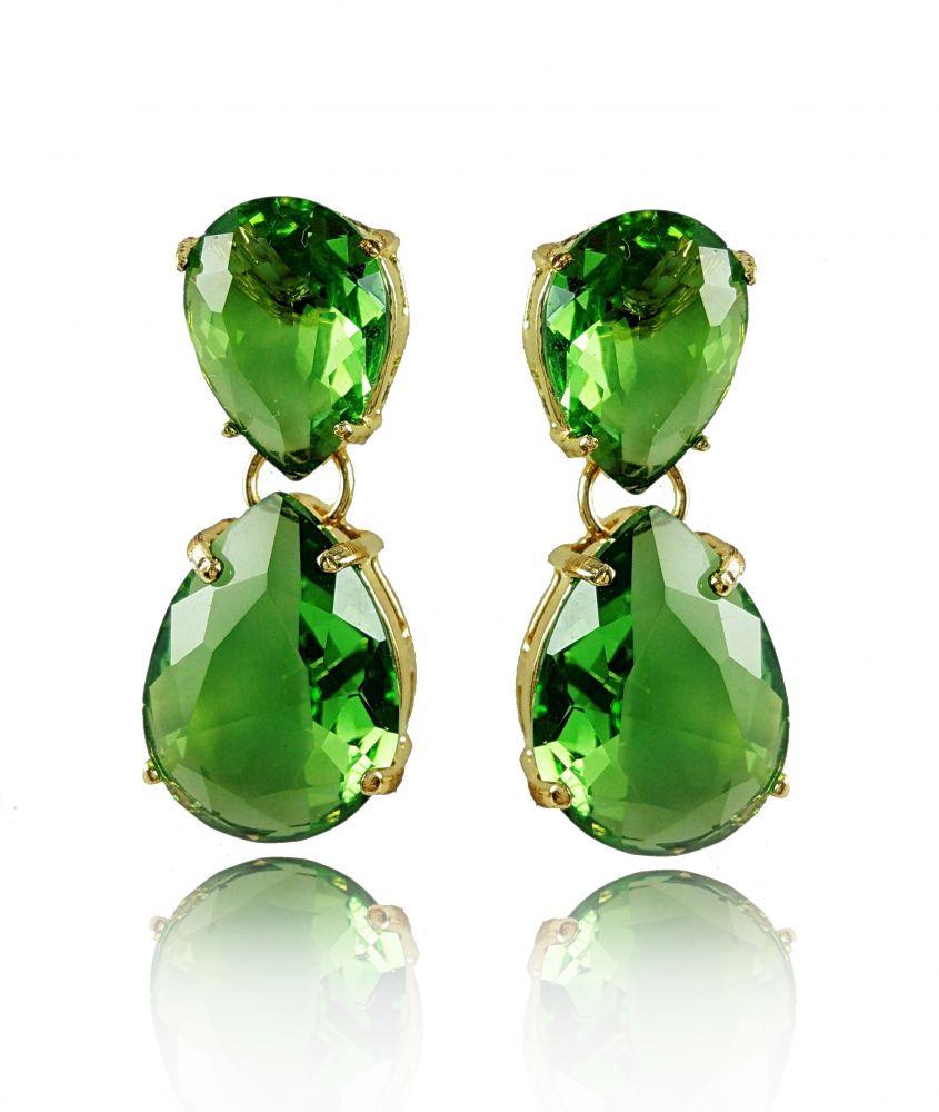 brinco folheado gota cristal verde