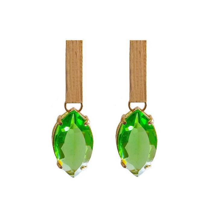 brinco com cristal verde folheado