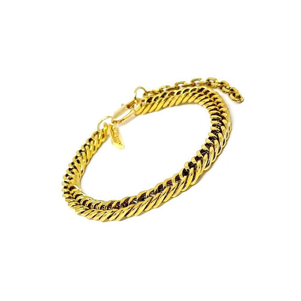 Pulseira Aço Inox Groumet Elo Duplo Gold