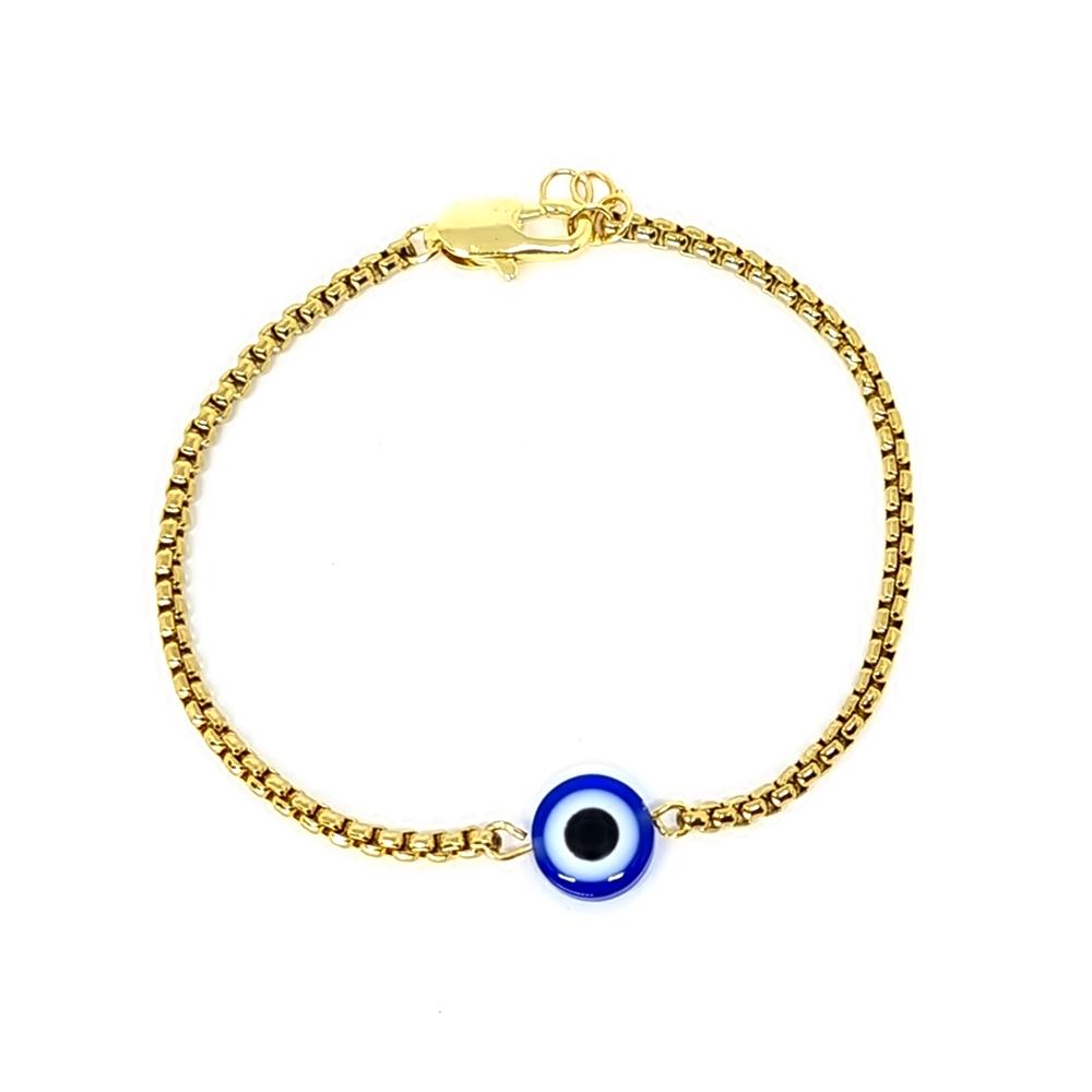 Pulseira Aço Inox Solicitario Olho Grego Gold