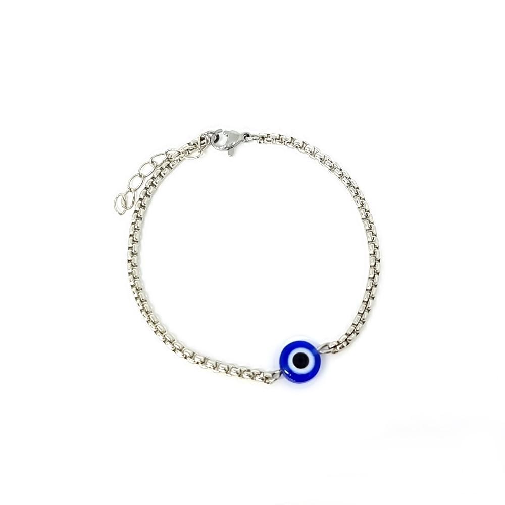Pulseira Aço Inox Solitario Olho Grego