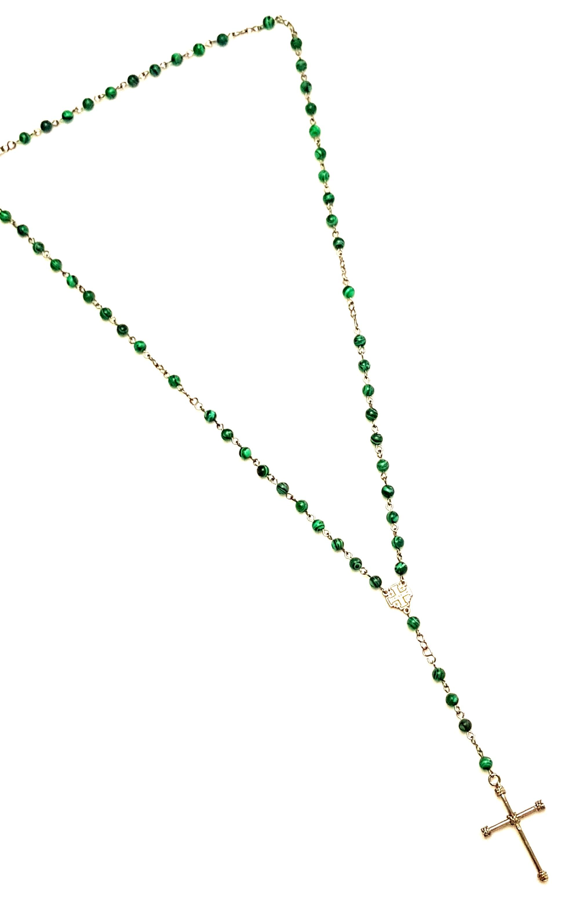 Colar Empório Top Terço Pedra Natural Verde