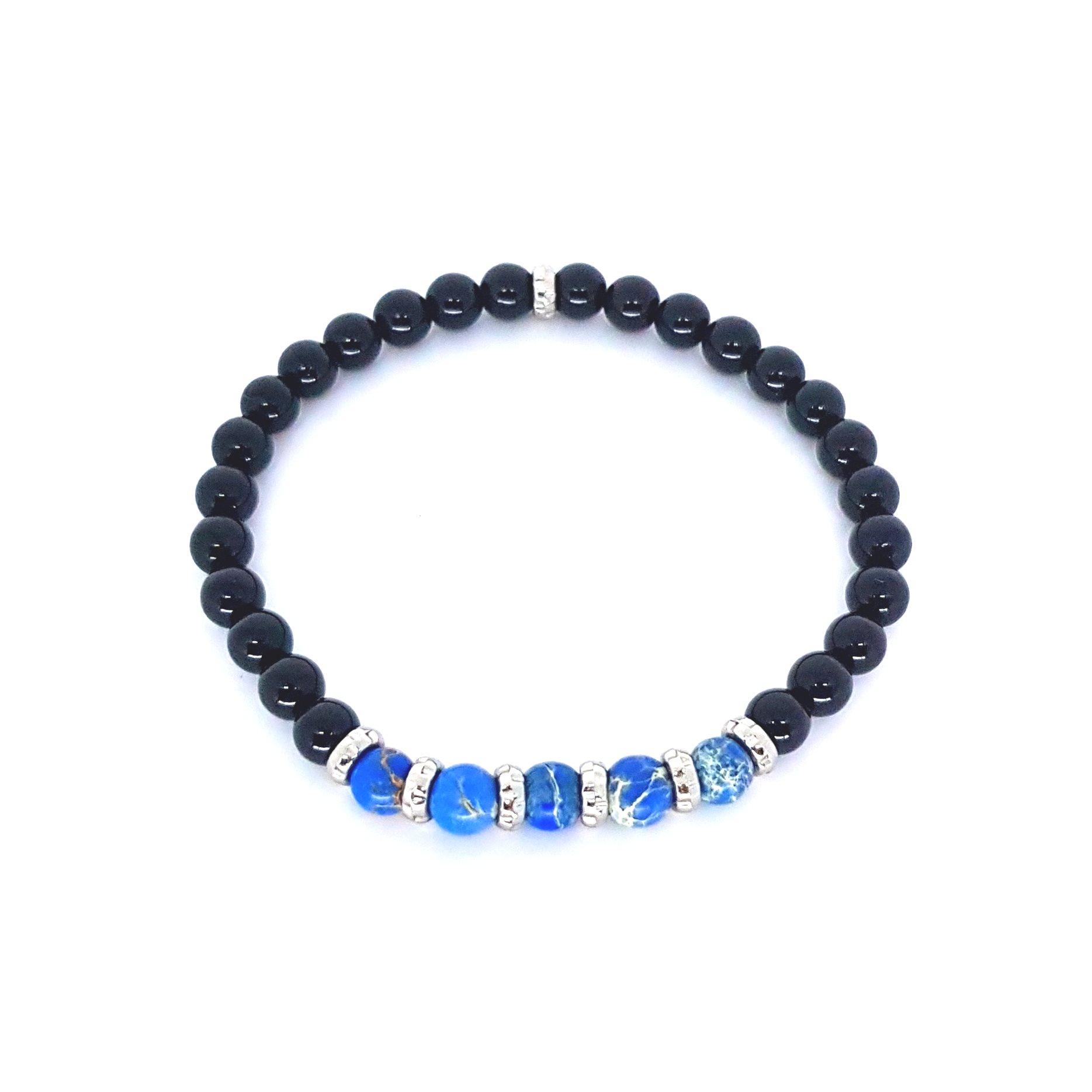 Pulseira EmpórioTop Pedra Onix e Jasper Azul
