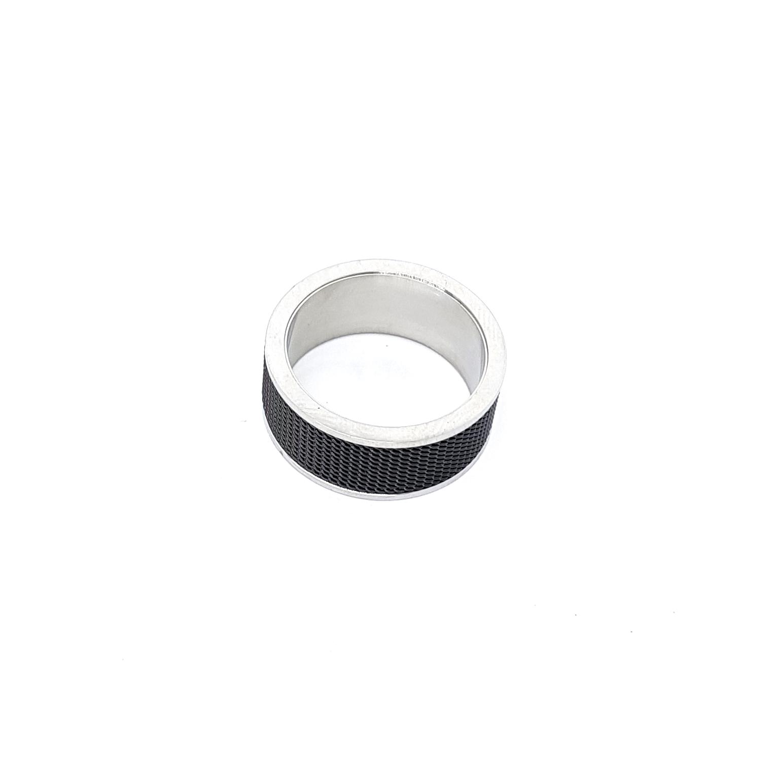 Anel de Aço Inox Black and Silver