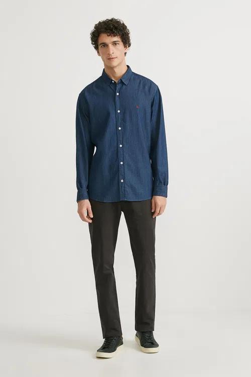 Camisa Foxton ML Jeans Arte Azul Escuro