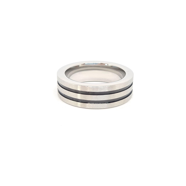 Anel Aço Inox Two Stripe Prata