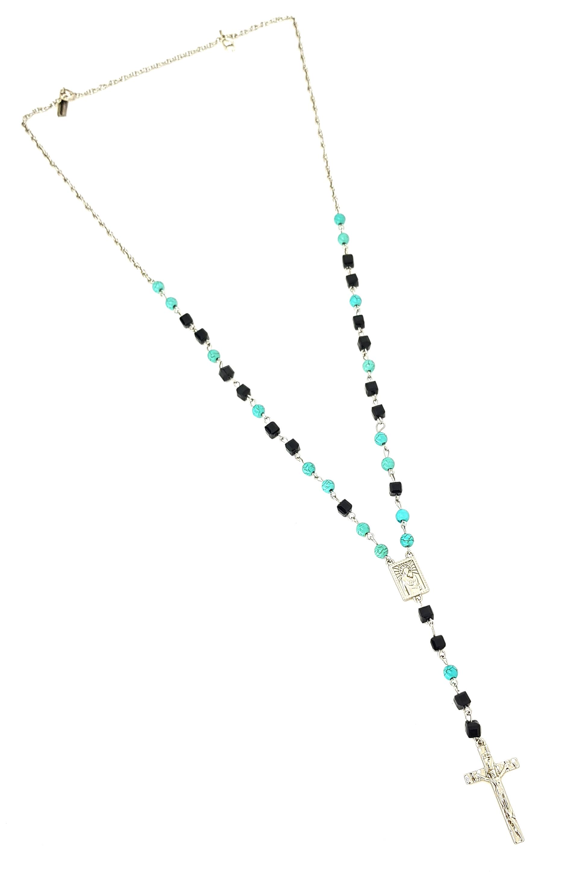 Colar Terço Black And Turquoise