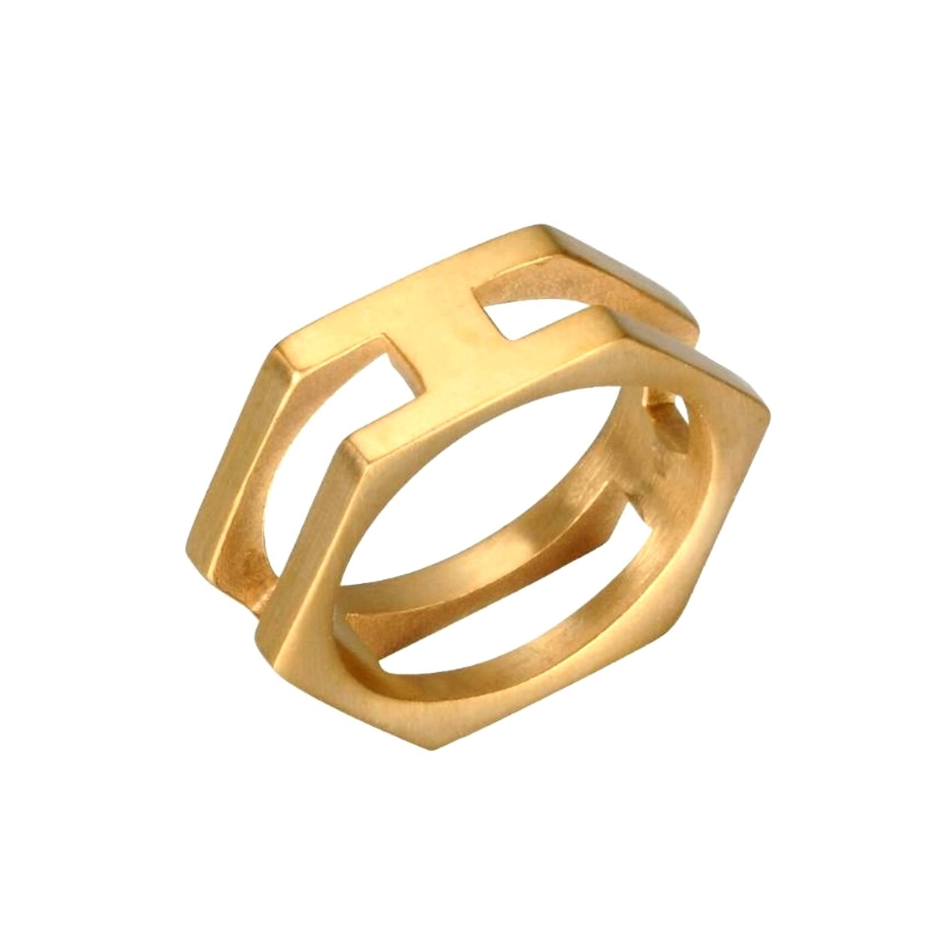 Anel Aço Inox Hexágono Gold