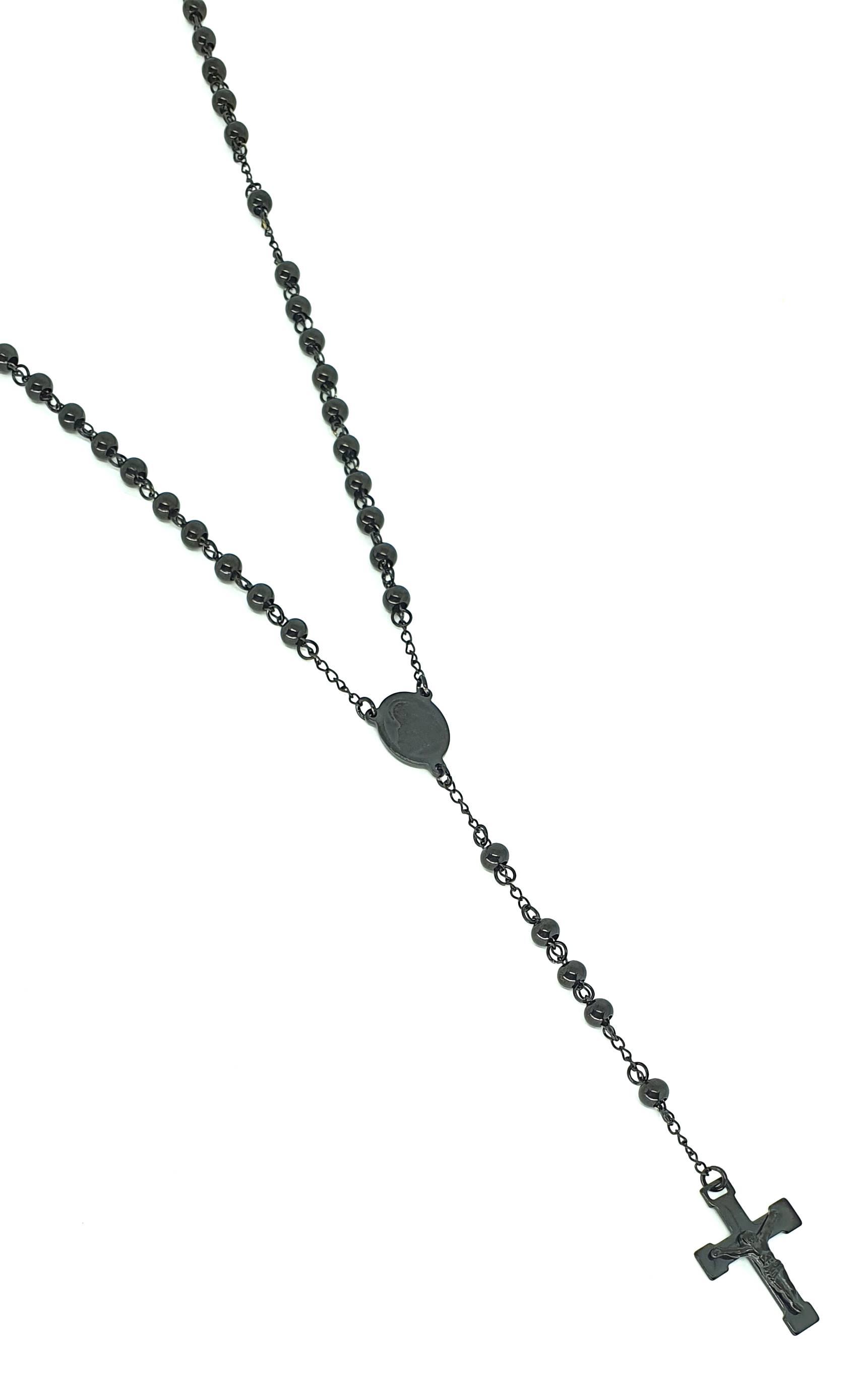 Colar Terço Aço Inox Black Series