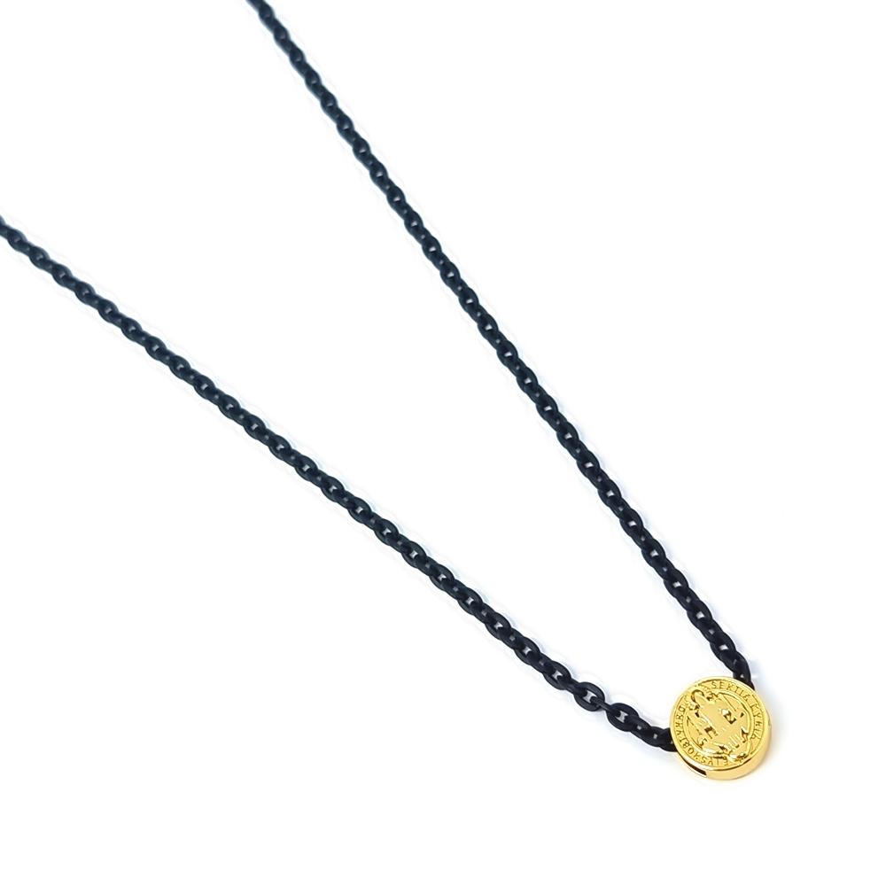 Escapulário Corrente Aço Inox São Bento Black Gold