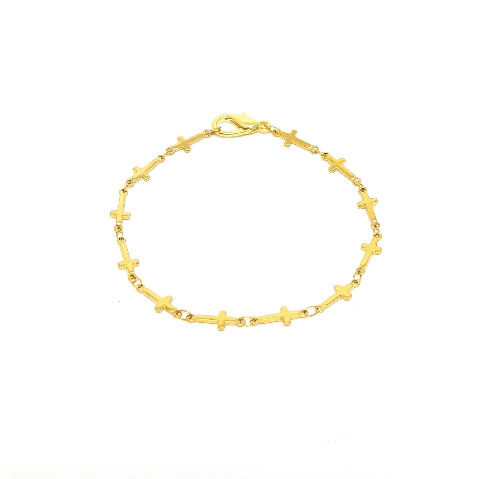 Pulseira Aço Inox Cruz Gold