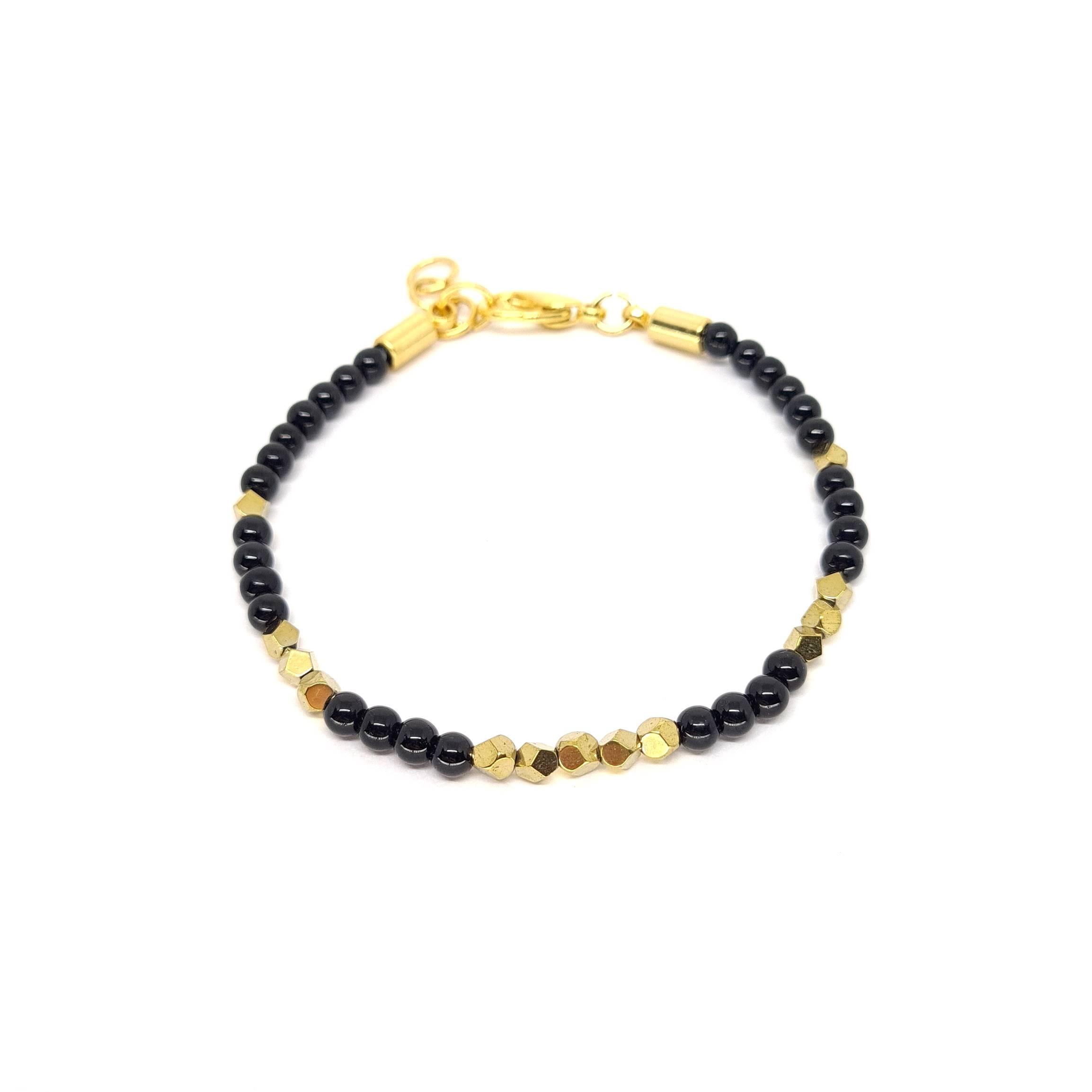 Pulseira de Pedras Onix Faceted Gold