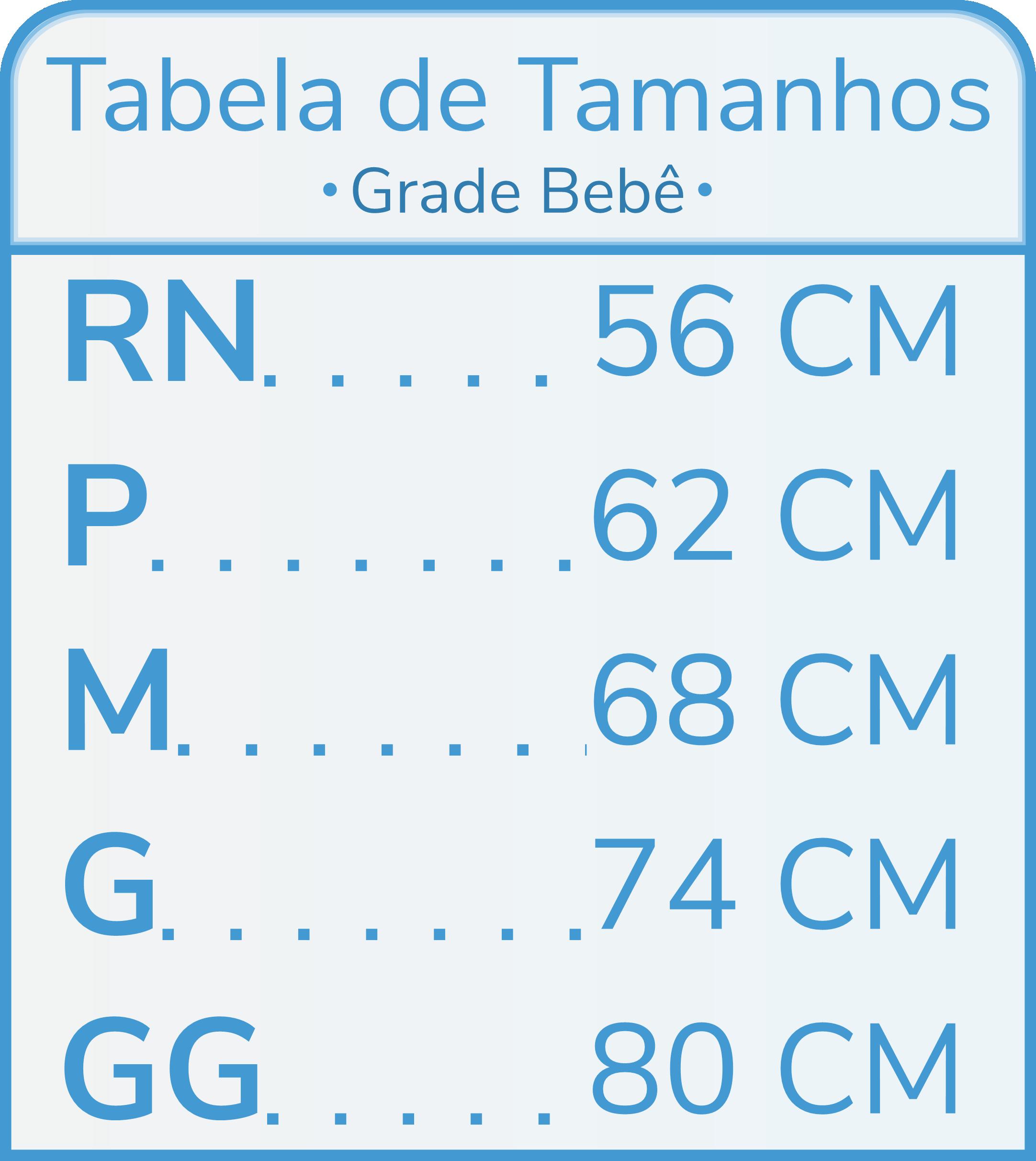 Tabela de Tamanhos Grade Pequena