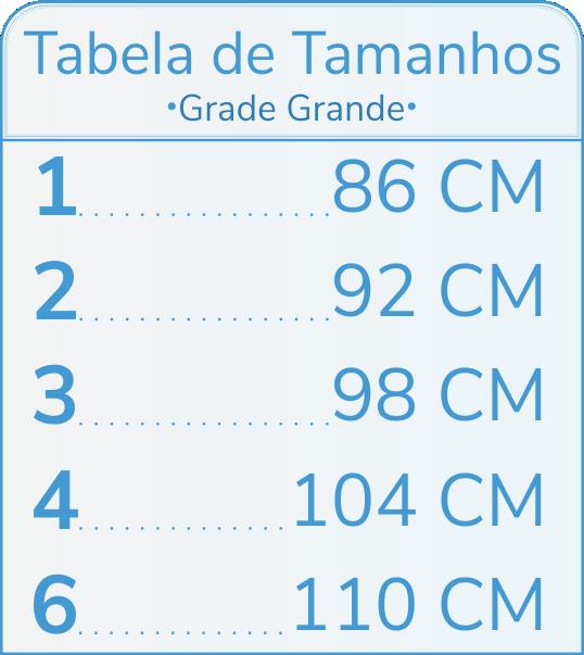 Tabela de Tamanhos Grade Grande