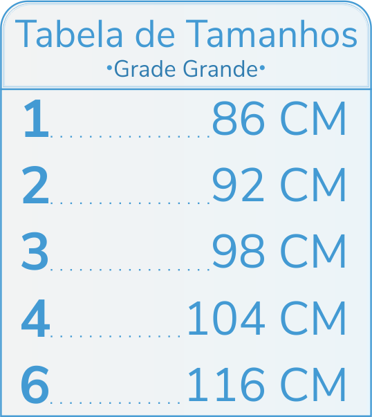 Tabelas de Tamanhos Grade Grande