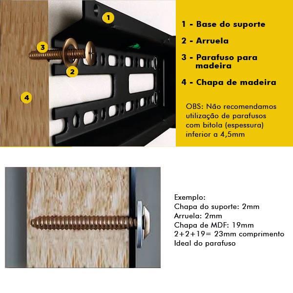 Imagem Comprimento para fusos painel de mdf instalação suporte VESA de tv