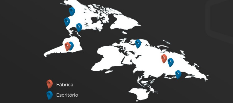 Mapa da fácrica, escritório e escritórios parceiros da ELG
